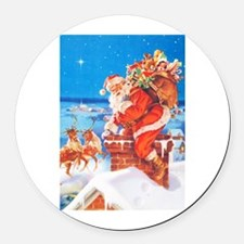 Santa Up On the Rooftop Round Car Magnet
