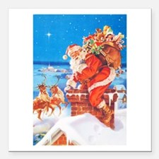 "Santa Up On the Rooftop Square Car Magnet 3"" x 3"""