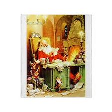 Santa & His Elves Checking His List Throw Blanket