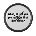 First Line Wrong Large Wall Clock
