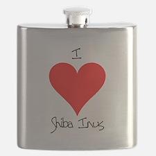I Love Shiba Inus Flask