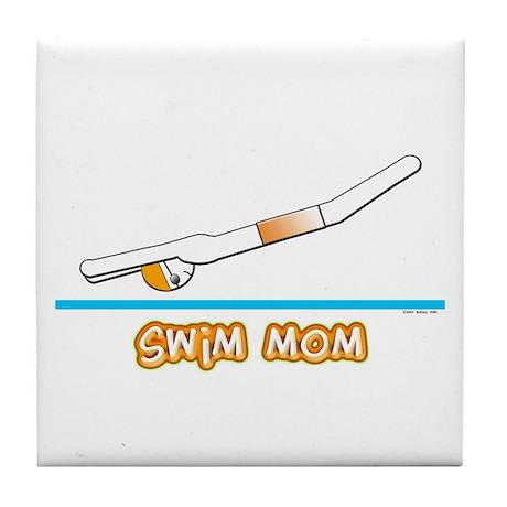 Swim Mom (boy) orange suit Tile Coaster