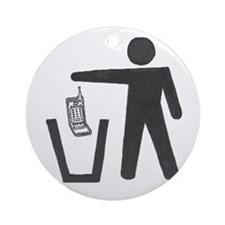 """Anti-Cell Phone - """"Pitch In"""" Ornament (Round)"""