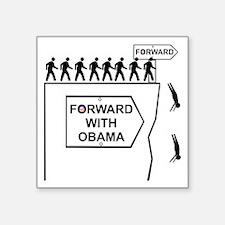 "Forward With Obama Square Sticker 3"" x 3"""