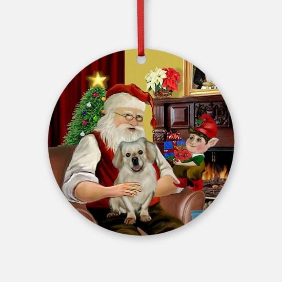 Santa's Tibetan Spaniel Ornament (Round)