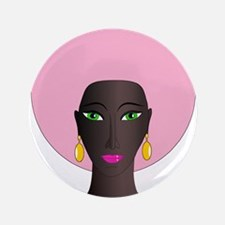 """Woman with Pink Afro 3.5"""" Button"""