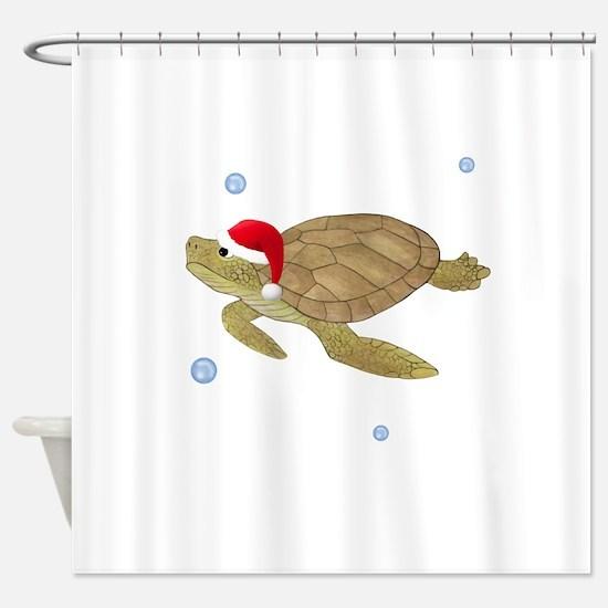 Santa - Turtle Shower Curtain