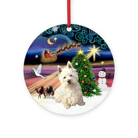 Xmas Magic & Westie (S) Ornament (Round)