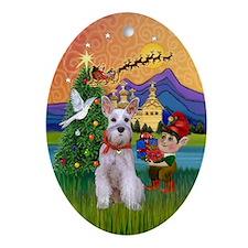 Xmas Fantasy & Min. Schnauzer Oval Ornament