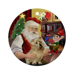 Santa & his Norfolk Terrier Ornament (Round)