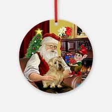Santa & his Norfolk Terrier Ornament (Round)