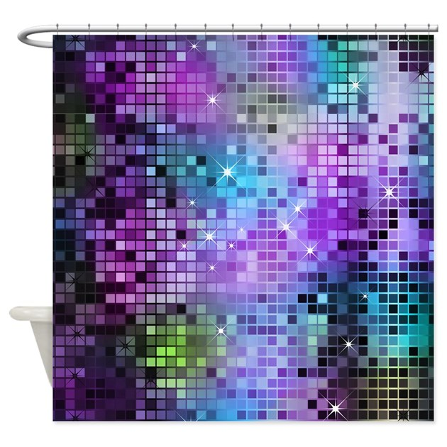 Disco Mirrors In Purple And Green Shower Curtain By Artonwear