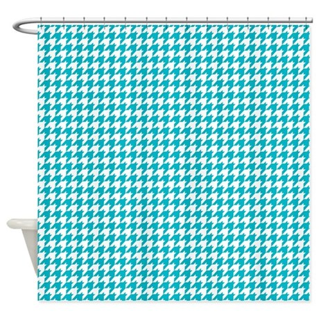 Houndstooth in turquoise and white shower curtain by artonwear - White and turquoise curtains ...
