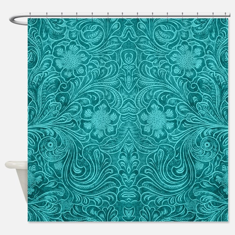 Leather Look Floral Turquoise Shower Curtain