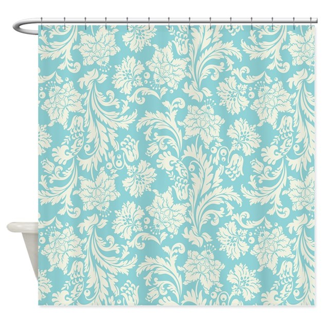 Turquoise And Cream Damask Shower Curtain By Artonwear