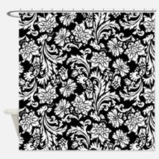 Black And White Damask Shower Curtain turquoise cream white damask flower floral fabric shower curtains
