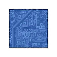"""Blue Circuit Board Square Sticker 3"""" x 3"""""""