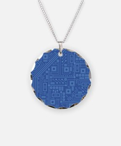 Blue Circuit Board Necklace