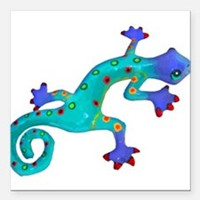 Turquoise Lizard with Red Toes Square Car Magnet 3