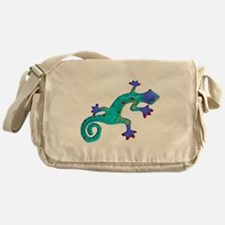 Turquoise Lizard with Red Toes Messenger Bag