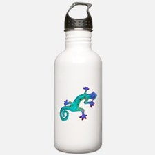 Turquoise Lizard with Red Toes Water Bottle