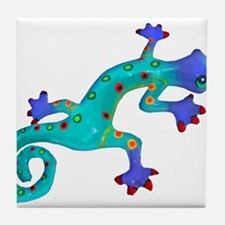 Turquoise Lizard with Red Toes Tile Coaster