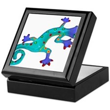 Turquoise Lizard with Red Toes Keepsake Box