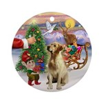 Santa's Treat for his Yellow Lab Ornament (Round)
