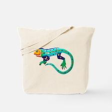 Turquoise Polka Dot Fiesta Lizard Tote Bag