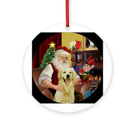 Santa's Light Golden Ornament (Round)