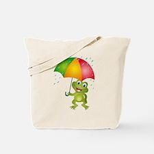 Frog Under Umbrella in the Rain Tote Bag