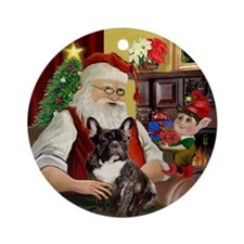 Santa's Brindle French Bulldog Ornament (Round)