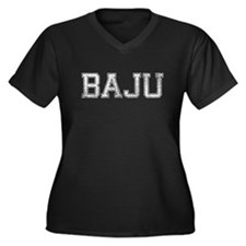 BAJU, Vintage Women's Plus Size V-Neck Dark T-Shir