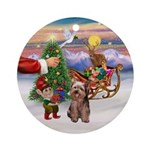 Santa's Treat for his Yorkie Ornament (Round)