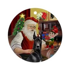 Santa's Black Great Dane Ornament (Round)