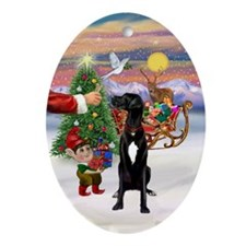 Santa's Treat for his Great Dane Oval Ornament