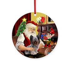 Santa's Skye Terrier (dk) Ornament (Round)