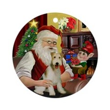 Santa's Wire Fox Terrier Ornament (Round)