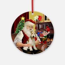 Santa's Wire Fox Terrier Ornament (Round)