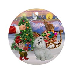 Santa's Treat for his Maltese Ornament (Round)