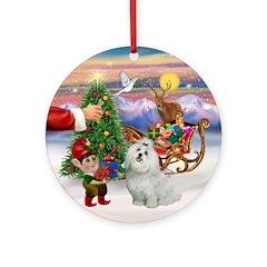 Santa's Treat for his Maltese Ornament (Round)