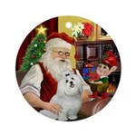 Santa's Maltese Ornament (Round)