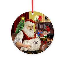 Santa's White Pekingese Ornament (Round)