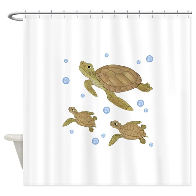 Sea Turtle Family Shower Curtain By Totsofun