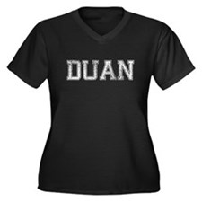 DUAN, Vintage Women's Plus Size V-Neck Dark T-Shir