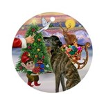 Santa's Treat for his Greyt (Br) Ornament (Round)