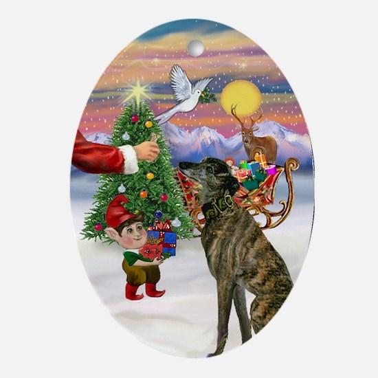 Santa's Treat for his Greyt (br) Oval Ornament