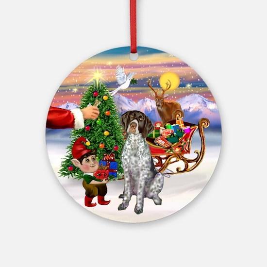 Santa's Treat for his Pointer Ornament (Round)