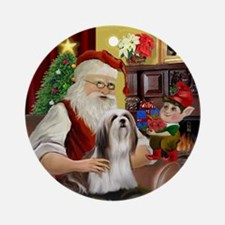 Santa's Lhasa Apso Ornament (Round)