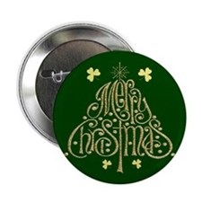 Merry Christmas Tree (Green) Buttons (10 pack)